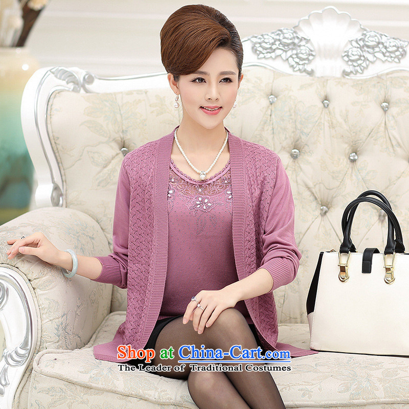 The Secretary for Health concerns of older women shop _ replacing autumn jackets and stylish MOM pack really two kits long-sleeved knitting cardigan middle-aged female woolen sweater purple燲L