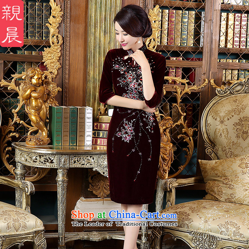 The pro-am wedding dress code load mother Kim large velvet cheongsam dress in the autumn of 2015, the new Elderly wedding dresses in female cuff?4XL