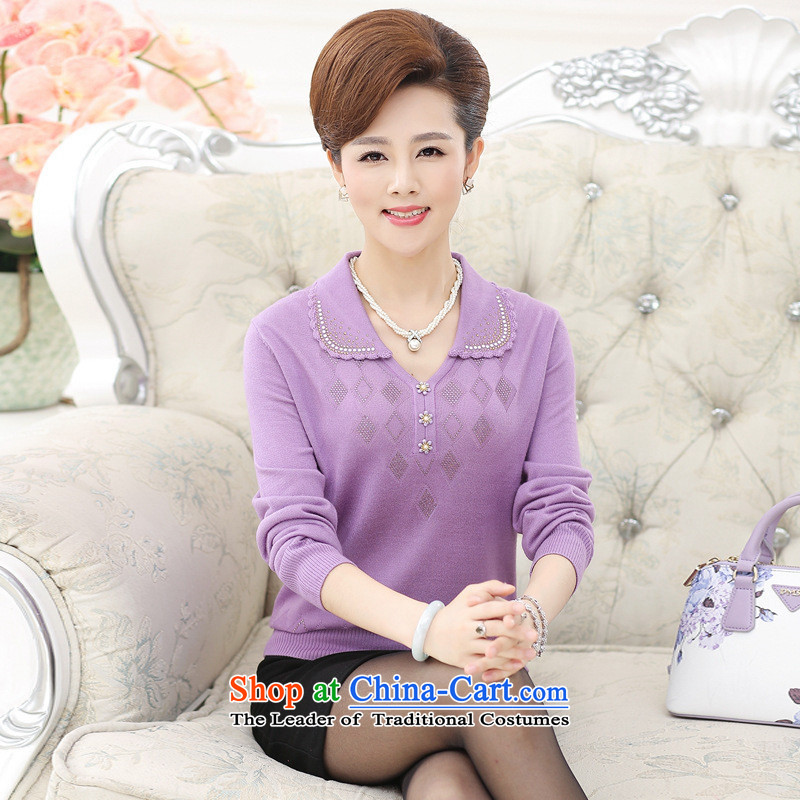 The Secretary for Health concerns of older women shop _ replacing sweater middle-aged people with autumn knitted moms long-sleeved shirt lapel T-shirts for larger T-shirt female purple燣 recommendations 105-120 catties_