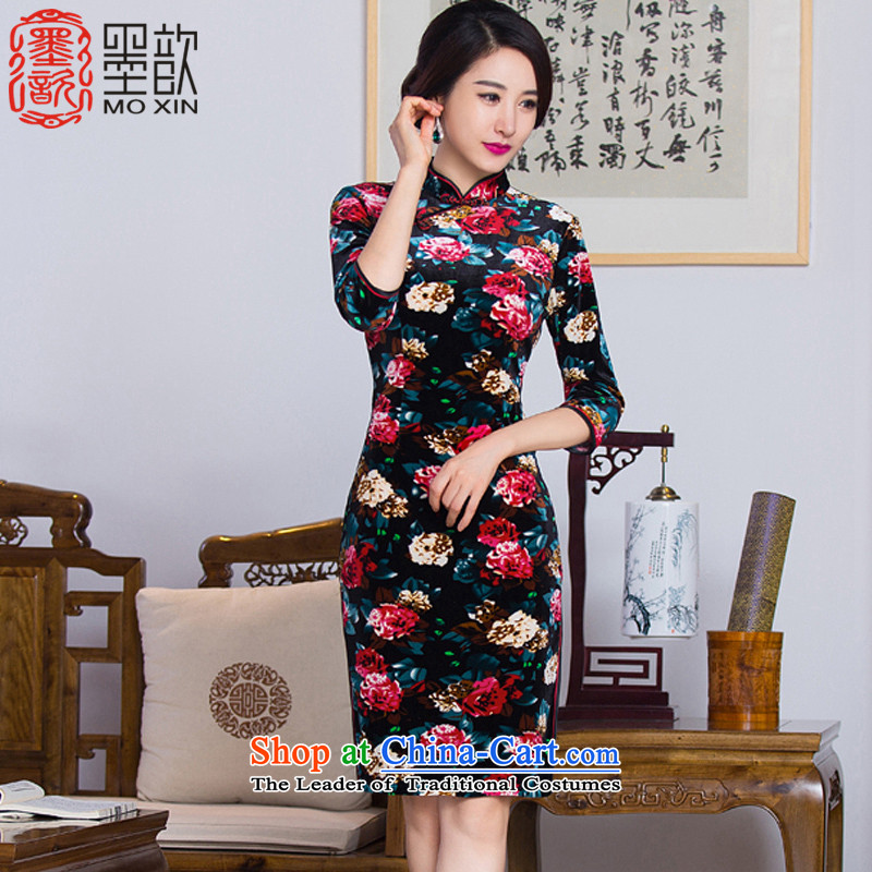 The ink on the�15 retro ? dream qipao autumn new_ cuff from older improved cheongsam dress in long skirt燪D291 qipao stylish爌ictures color燣