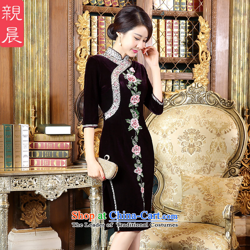 At 2015 New Pro-Large Autumn Kim scouring pads fitted wedding dresses mother-to-day improved stylish cheongsam dress in short-sleeved_?4XL