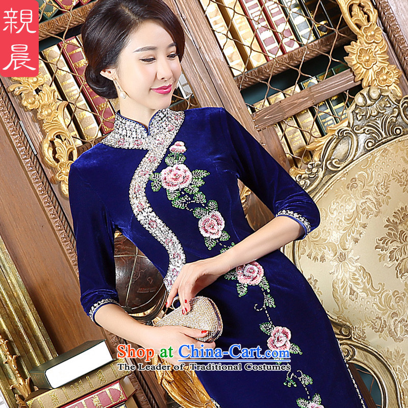 Wedding dresses pro-morning large load mother Kim scouring pads new 2015 autumn day-long stylish cheongsam dress in long-sleeved燬