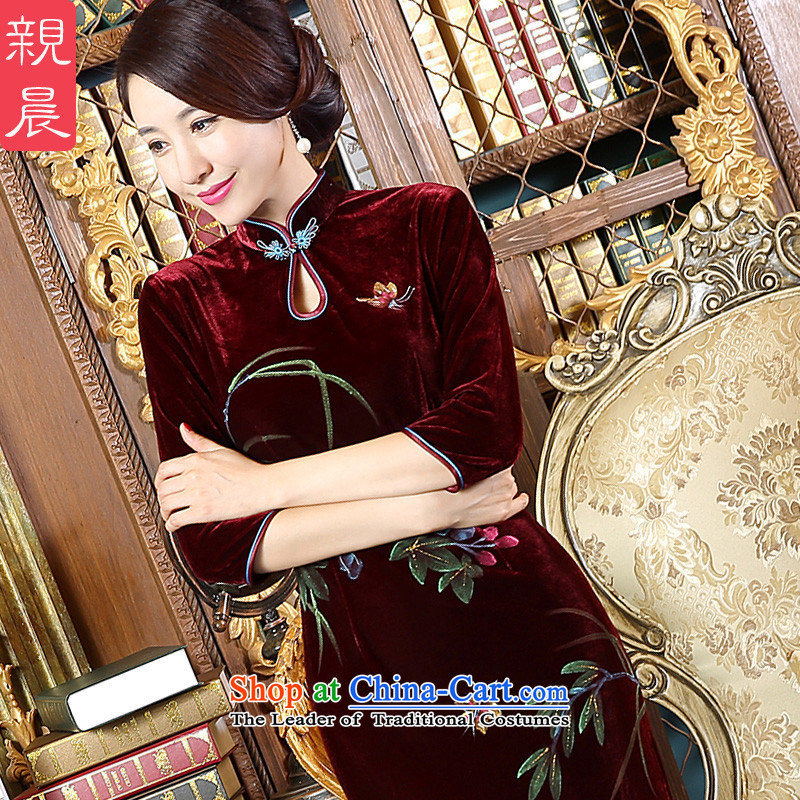 Pro-morning dress mother loaded code velvet autumn 2015 new stylish daily improved cheongsam dress Ms. dresses in long-sleeved�L