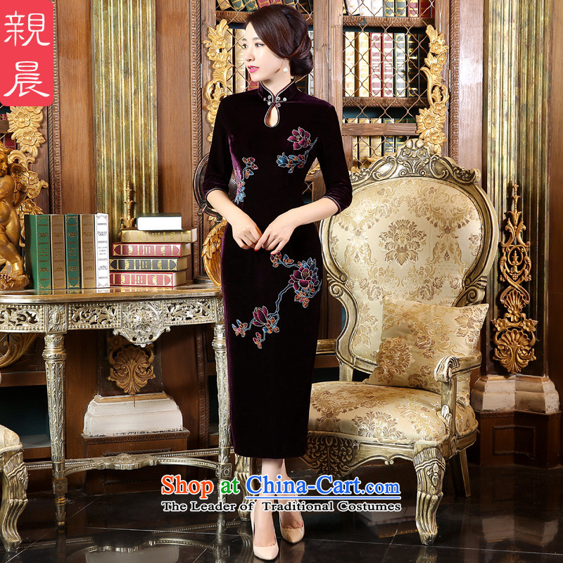 Pro-Morning Yard long_ scouring pads in the mother Kim older autumn 2015 new wedding dresses in the ordinary course of improved qipao sleeve Length燤