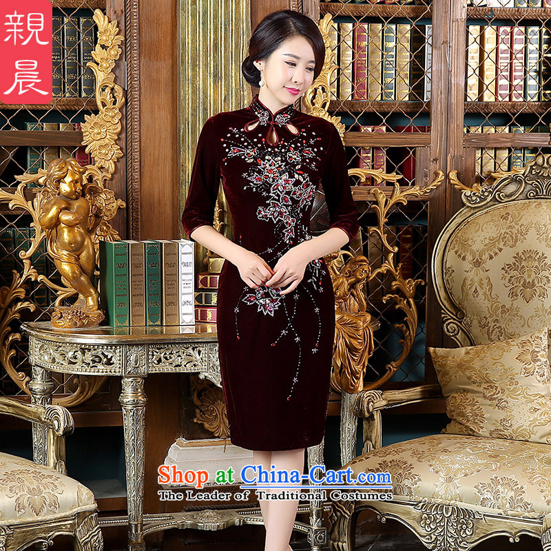 The pro-am wedding dress code load mother Kim large velvet cheongsam dress in the autumn of 2015, the new Elderly wedding dresses in short-sleeved_ female�L