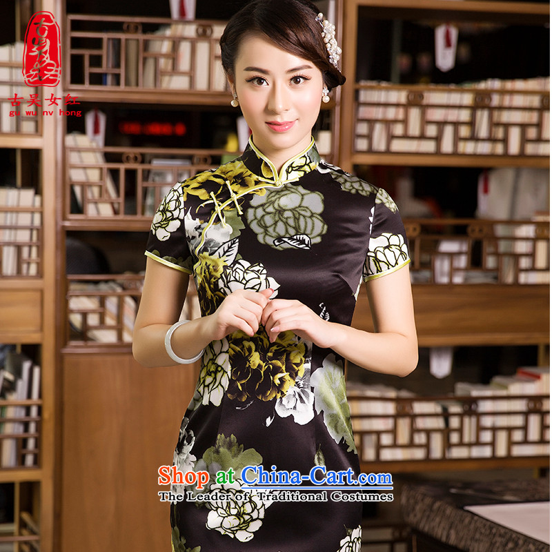 The Wu Female Red Silk Cheongsam MOM Pack 2015 Autumn In New-to-day long retro cheongsam dress yellow?L