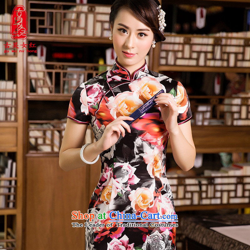 The Wu female red燼utumn 2015 new moms with everyday women cheongsam in long retro cheongsam dress dresses dark red燣