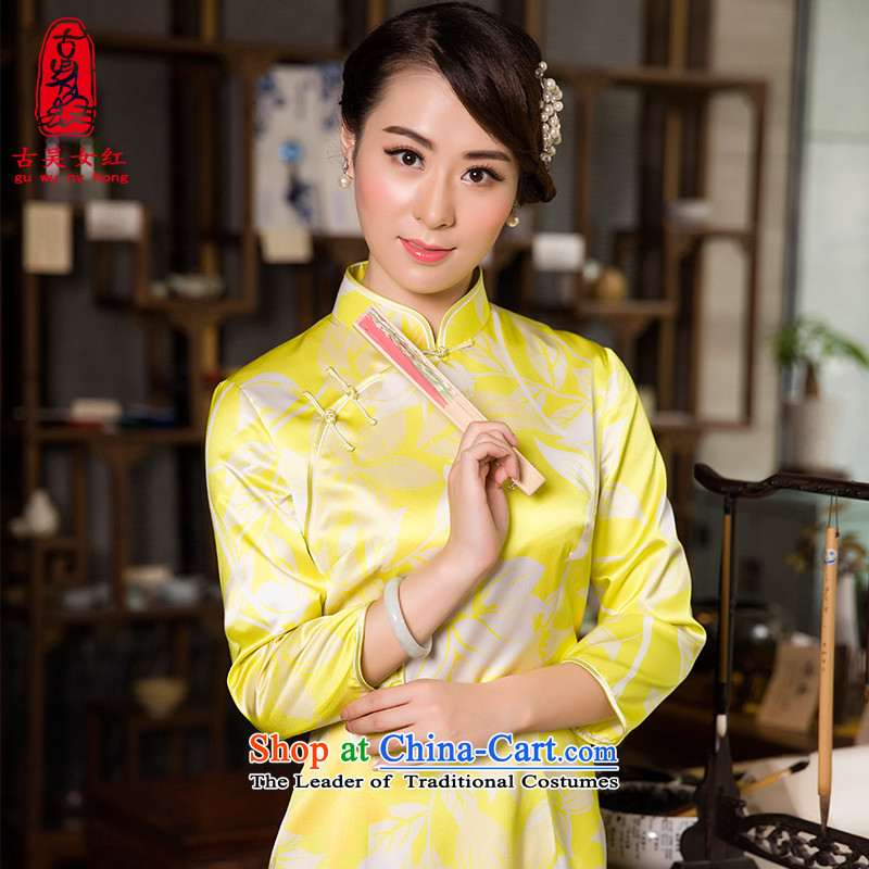 The Wu female red 2015 New Fall_Winter Collections of silk cheongsam dress daily slimming long stamp 7 to the cuff of the forklift truck qipao high yellow燬