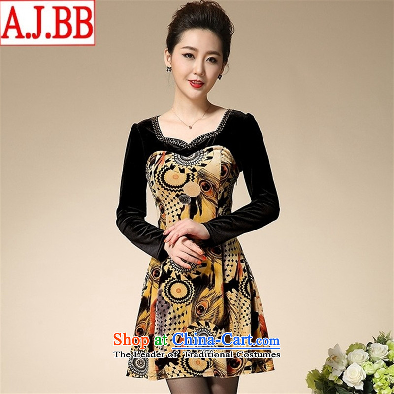The Black Butterfly gold Autumn 2015 scouring pads stamp V-Neck Diamond Sau San installed XL middle-aged moms long-sleeved dresses green?L