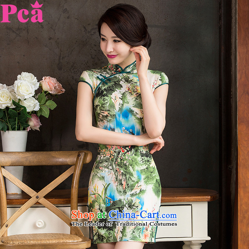 Pca?new autumn skirt cheongsam with improved Short-Sleeve Mock-Neck paintings on the stamp's Sau San short of qipao gown?521154?landscapes?L