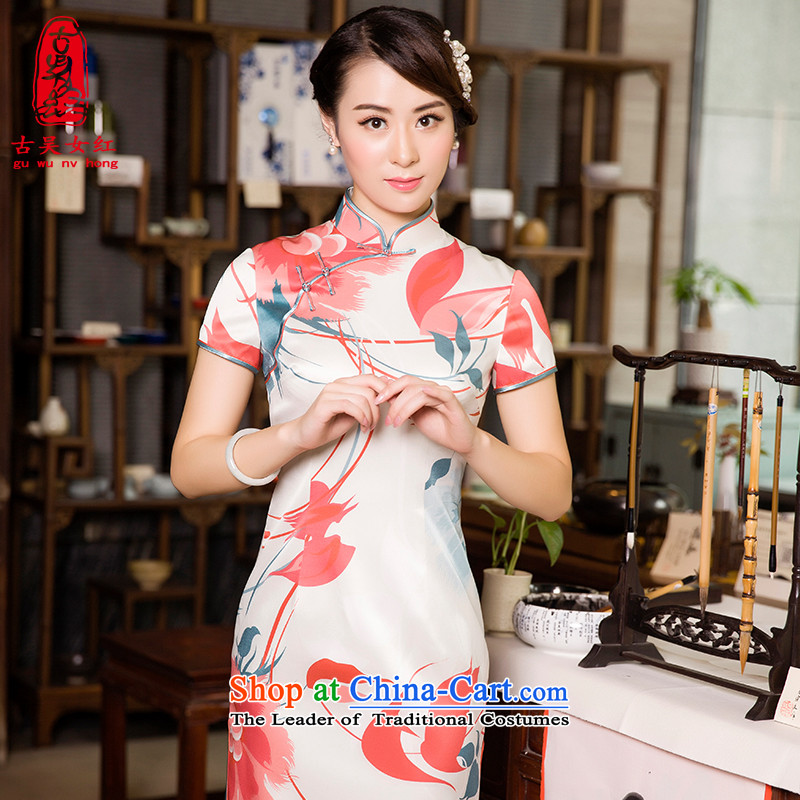 The Wu female red autumn in long skirt 2015 new qipao daily retro silk cheongsam dress Sau San rose red燤