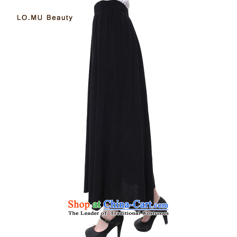 2015 new literary aura body skirt cotton linen ethnic retro long skirt large black dress children skirt black?S code