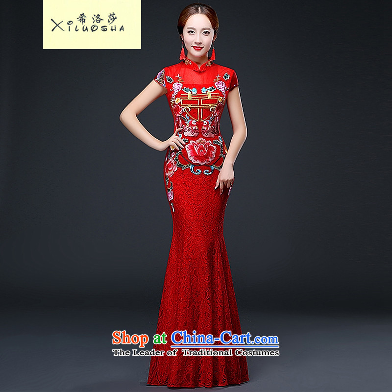 Hillo XILUOSHA_ bridal dresses Lisa _long_ bows to marry a crowsfoot qipao wedding dresses embroidery lace Chinese New Year 2015 Autumn RED?M