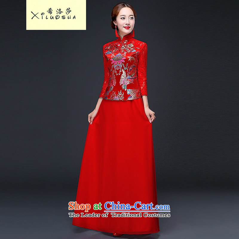 Hillo XILUOSHA) Lisa (qipao autumn and winter brides marriage cheongsam long-sleeved red bows wedding dresses lace serving Chinese wedding 2015 New Red XXL