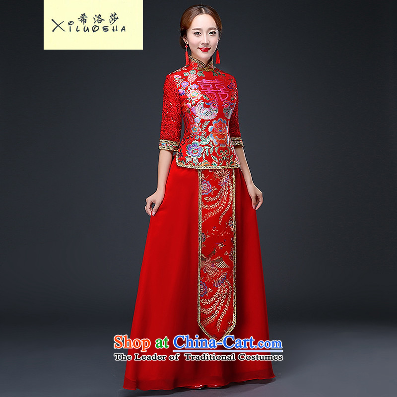 Hillo XILUOSHA_ bridal dresses Lisa _long long-sleeved-soo and chinese cheongsam dress marriage bows services lace 2015 new autumn RED?M