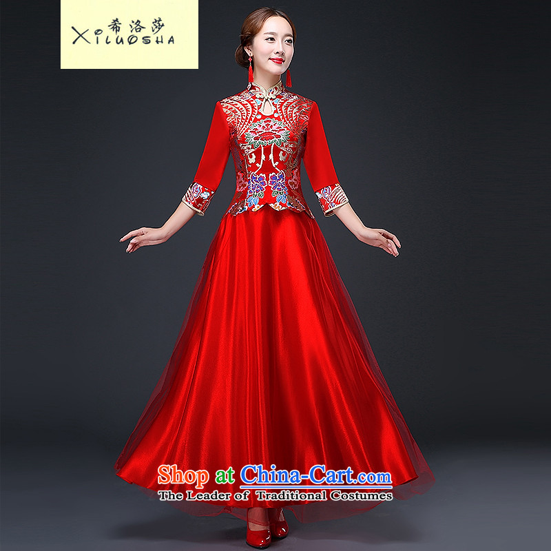 Hillo XILUOSHA_ Lisa _bride long long-sleeved brides qipao bows service wedding dress red Chinese wedding dresses 2015 new autumn red?L