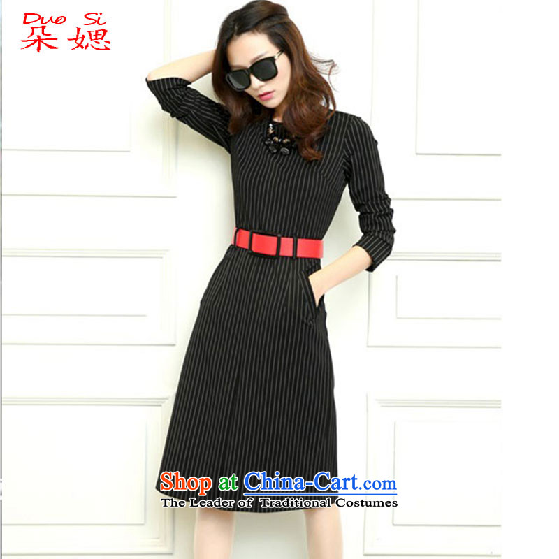 � The new 2015 ? flower autumn and winter was improved and stylish decorated streaks temperament, day-to-day long-sleeved cheongsam dress black燣