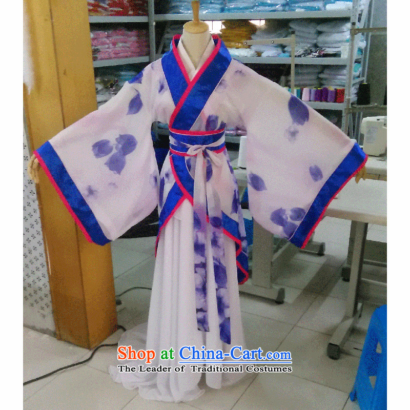 Syria costume Han clothing moments of the Tang dynasty ancient Gwi-porcelain cotton linen dress female tail will Algeria skirt Han-track civil light blue