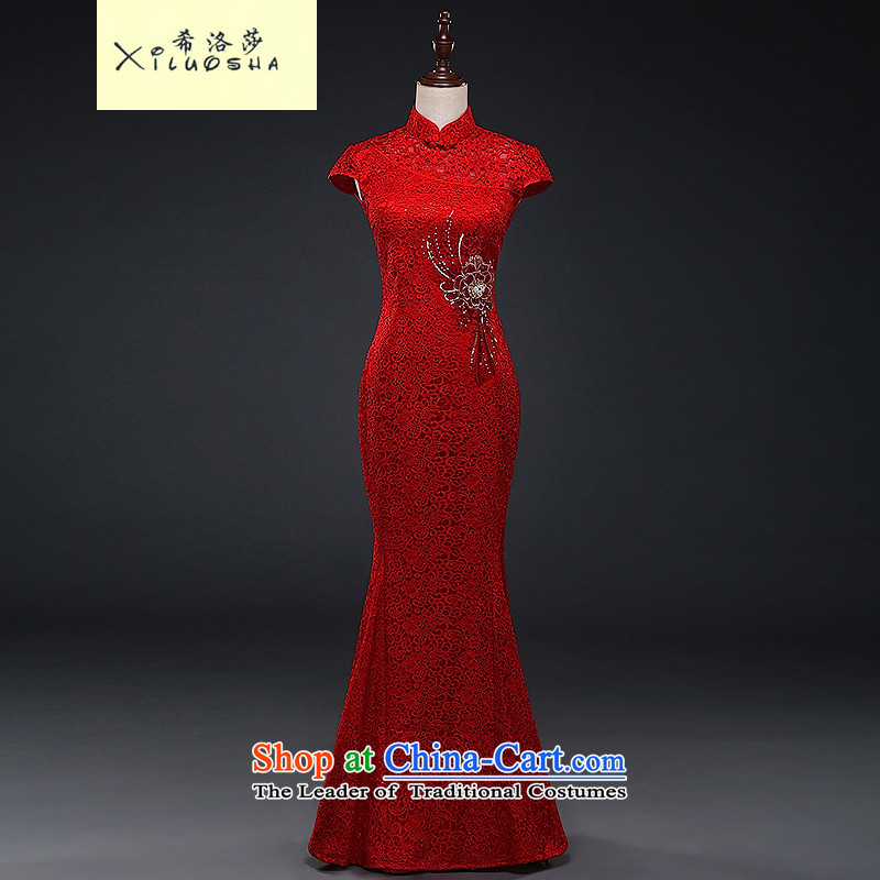 Hillo XILUOSHA) Lisa (qipao bows serving long marriage, bridal dresses chinese red color wedding dresses lace crowsfoot 2015 new autumn RED M