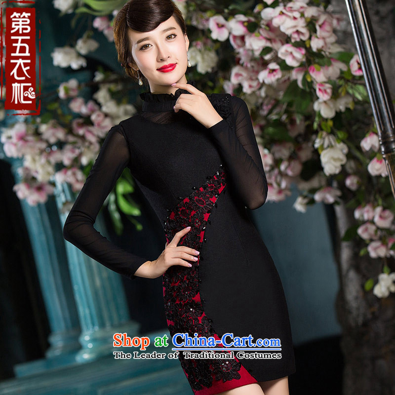 Eason Chan point cheongsam dress 2015 new warm winter clothing a stylish evening dresses chinese black?L