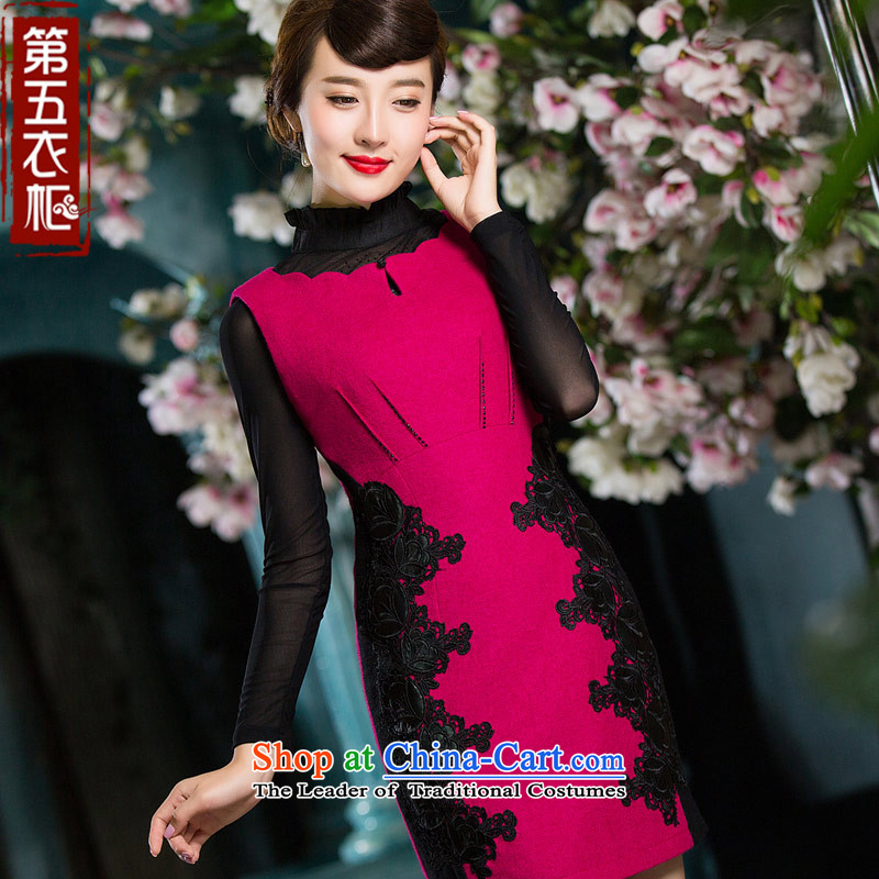 Eason Chan point cheongsam dress 2015 new winter Chinese embroidery Sau San Tong load of ethnic Chinese dress in red燣
