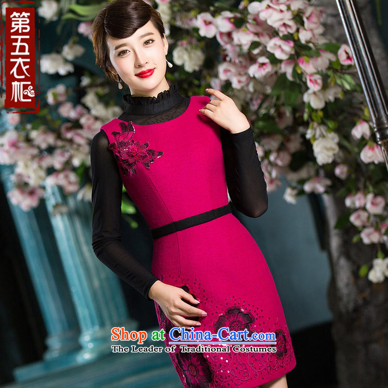 Eason Chan point cheongsam dress 2015 new winter round-neck collar gross national wind daily dresses? The Red?XXL