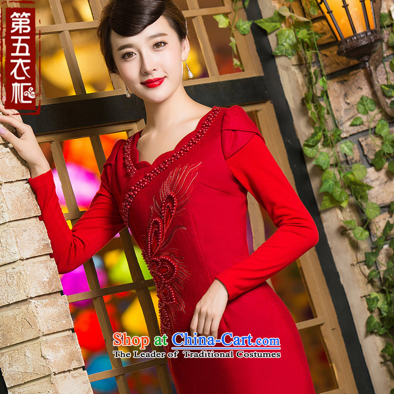 Eason Chan point cheongsam dress 2015 new winter long-sleeved stylish thick chinese red color bows services red?S