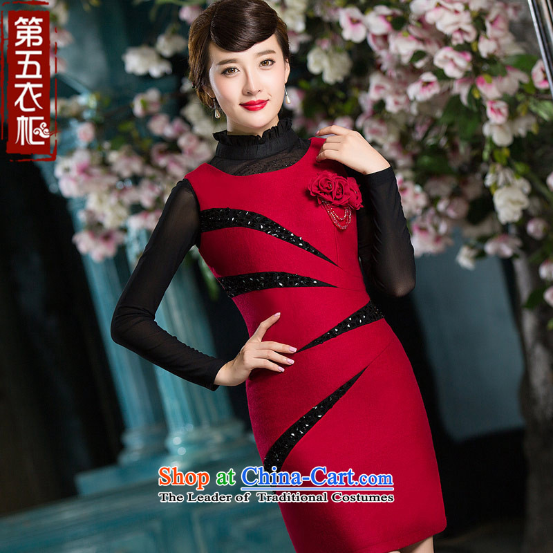Eason Chan point cheongsam dress 2015 new stylish bride mother load winter wedding dress suit Female dark red�XXL