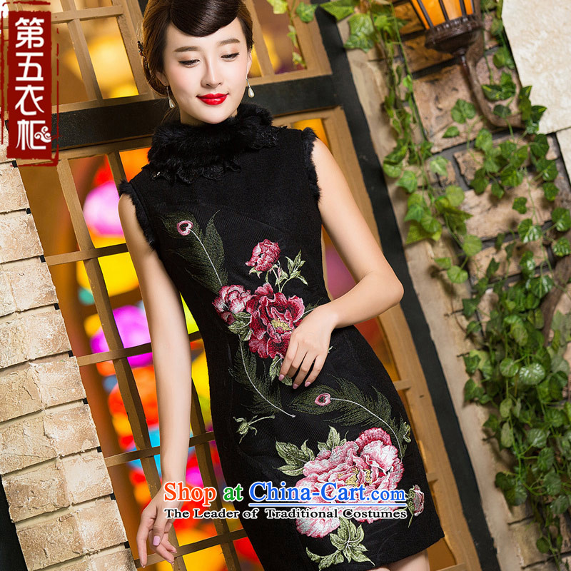 Eason Chan point cheongsam dress 2015 new stylish improved wool is Winter Chinese gross for Sau San dresses black燤