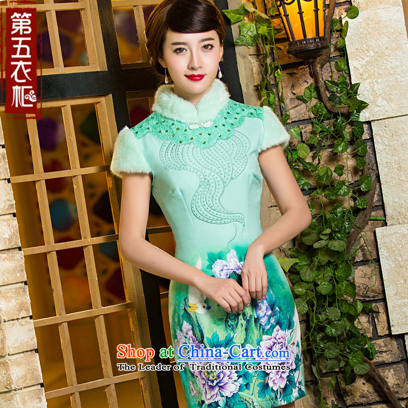 Eason Chan point cheongsam dress 2015 new winter clothing stylish Chinese Sau San Tong replacing girls daily folder cotton wool collar qp light green?XL
