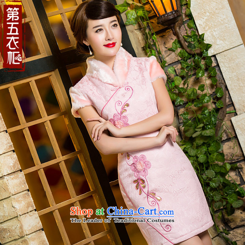 Eason Chan point winter cheongsam dress clip cotton stylish Chinese gross collar short of Sau San pink daily female dresses pink?S