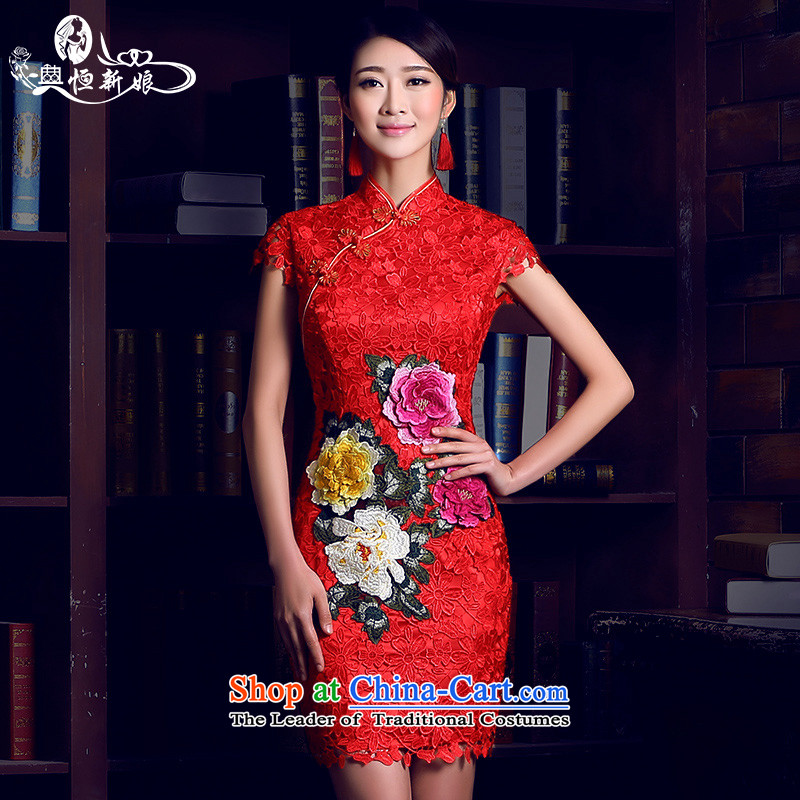 Noritsune bride short of Qipao�2015 new antique Chinese red Lace Embroidery cheongsam wedding dress wedding services improved version of bows Sau San-qipao red�S