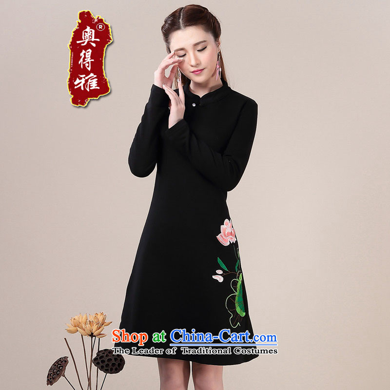 Andro Ya Chun cheongsam dress Ms. improved graphics thin Sau San long-sleeved forming the dresses black M
