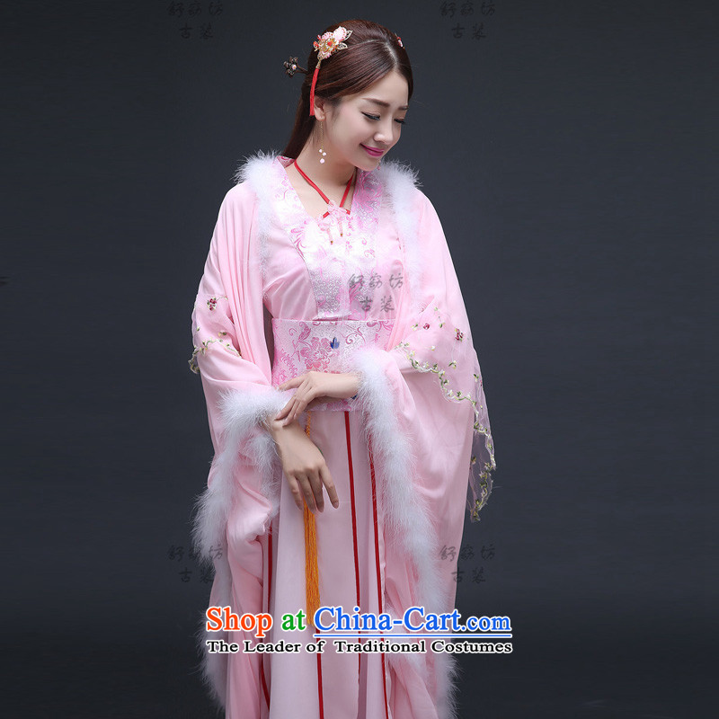 Time Syria warm winter clothing fairies replacing purple costume Tang Dynasty Han-gliding ancient costumes princess cosplay costumes tail skirt clothes Pink
