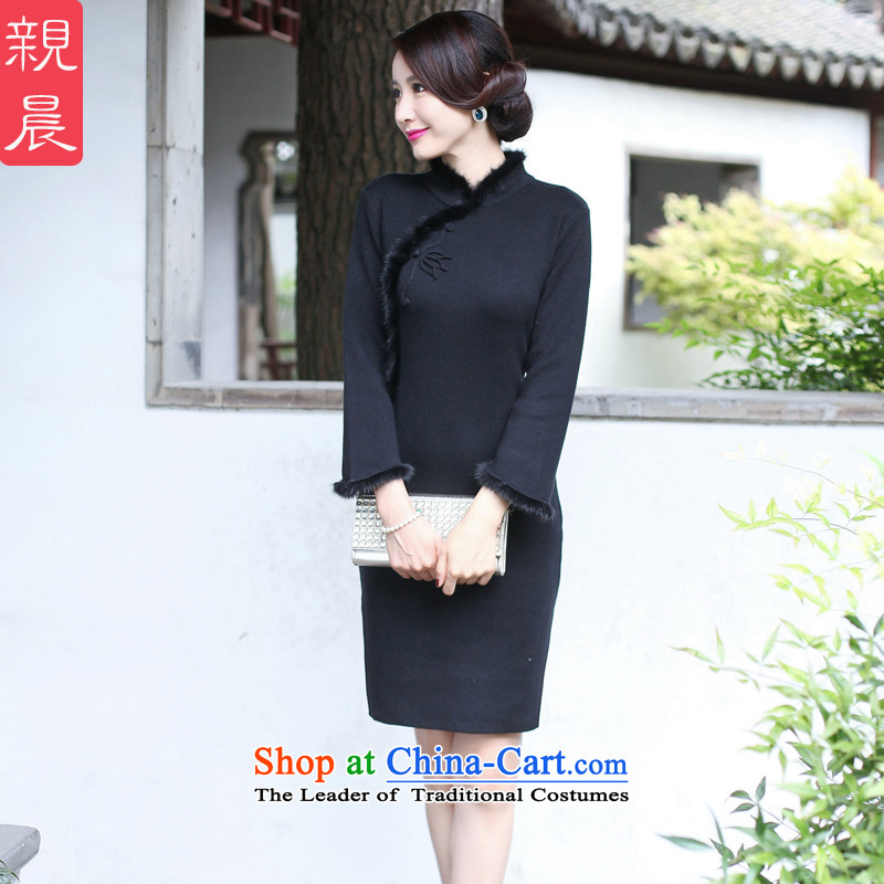The new 2015 Fall_Winter Collections cheongsam dress short Ms. Stylish retro long-sleeved woolen knitted Sau San improved black�L