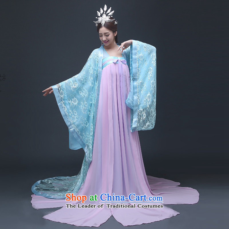 Time Syrian?2015 Fan Bing Bing Version Wu Classics Videos drama costumes and sisters high waist chiffon skirt costume pale blue you can multi-select attributes by using