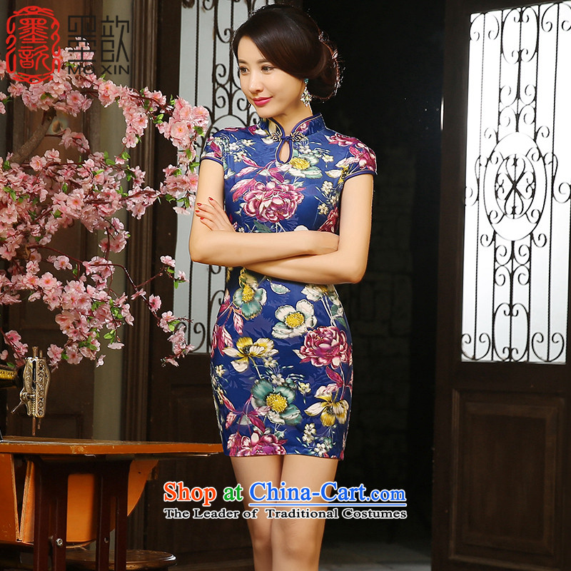 The ink from the 2015 retro 歆 Tsing improved new_ Autumn qipao short of qipao gown scouring pads qipao Ms. skirt ZA9804 picture color S