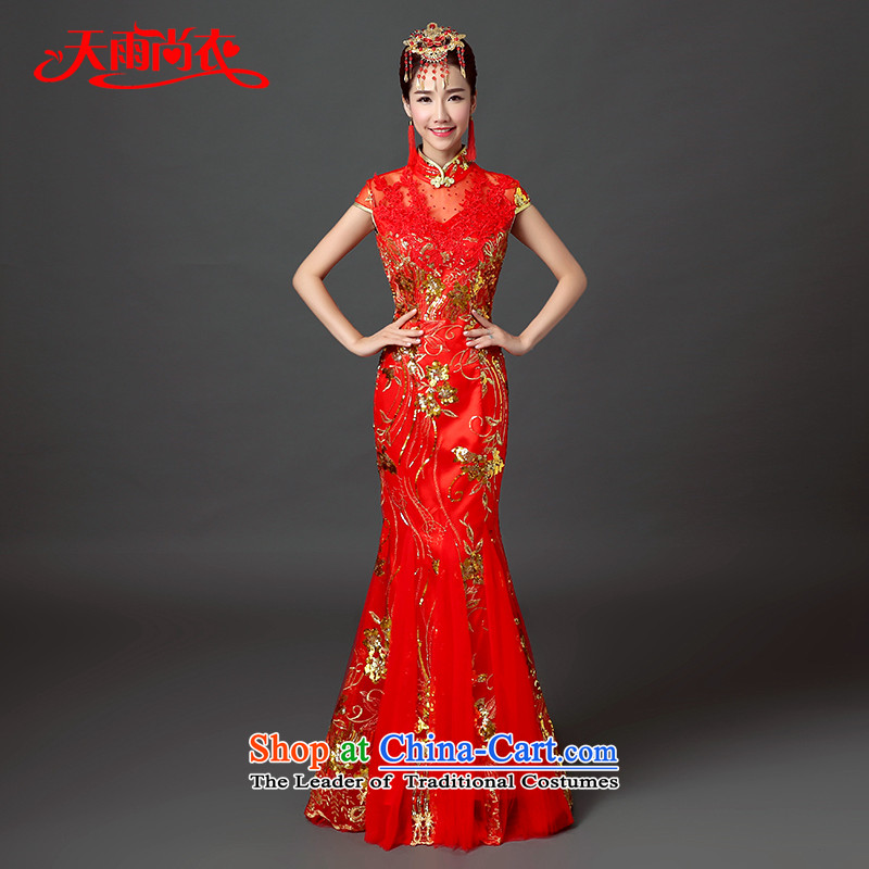 Rain-sang yi�15 new wedding dress wedding Chinese long large graphics thin crowsfoot qipao stylish collar bows QP548 SERVICES RED燤