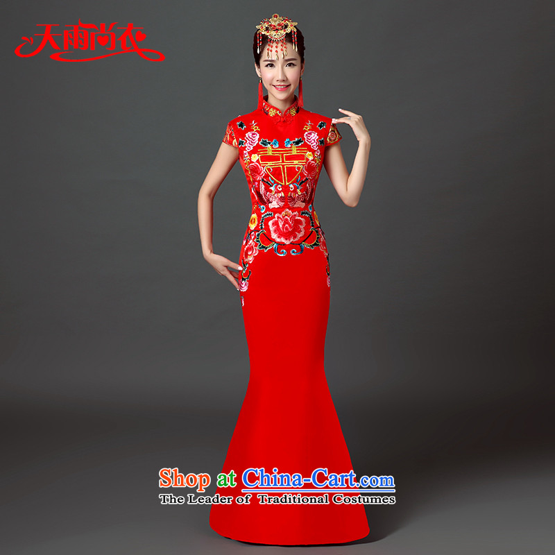 Rain Coat�15 Autumn yet wedding dresses new Chinese long large graphics thin crowsfoot qipao marriages bows services QP546 RED L