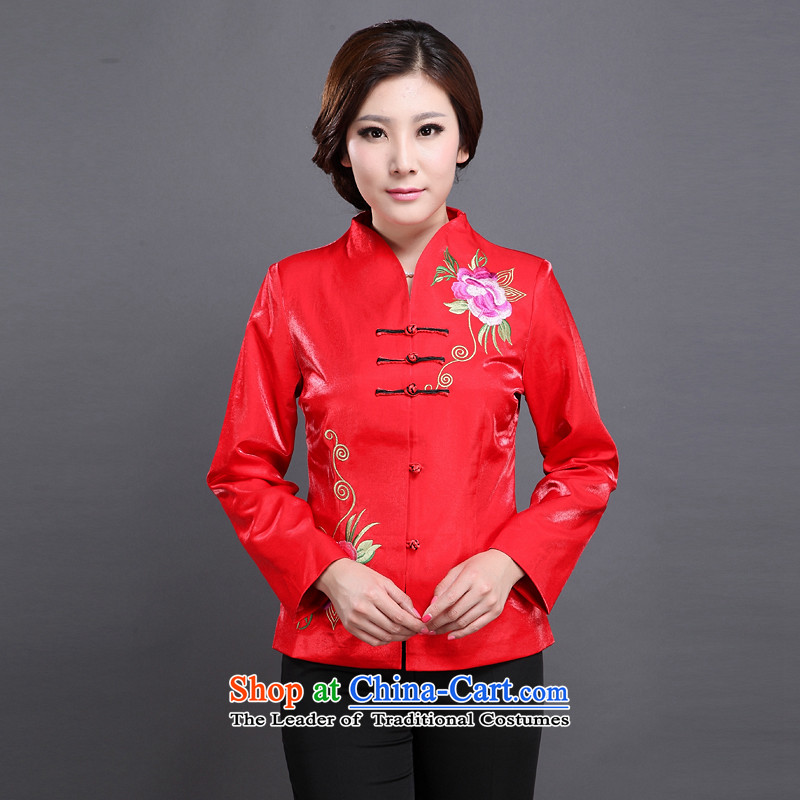 The Cave of the winds in the spring and autumn of the elderly people, Ms. Tang dynasty fashion older Sau San Tong jackets Y661 mother large red?XL