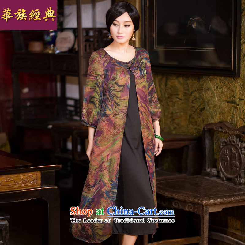 Chinese communities in spring and autumn classic for women in the long Spring and Autumn cheongsam look with long-sleeved jacket coat temperament?XXXL Sau San Suit
