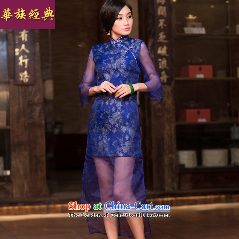 Chinese New Year 2015 classic-long-sleeved improved Stylish retro cheongsam dress autumn, Tang Dynasty Chinese dress suit Female M