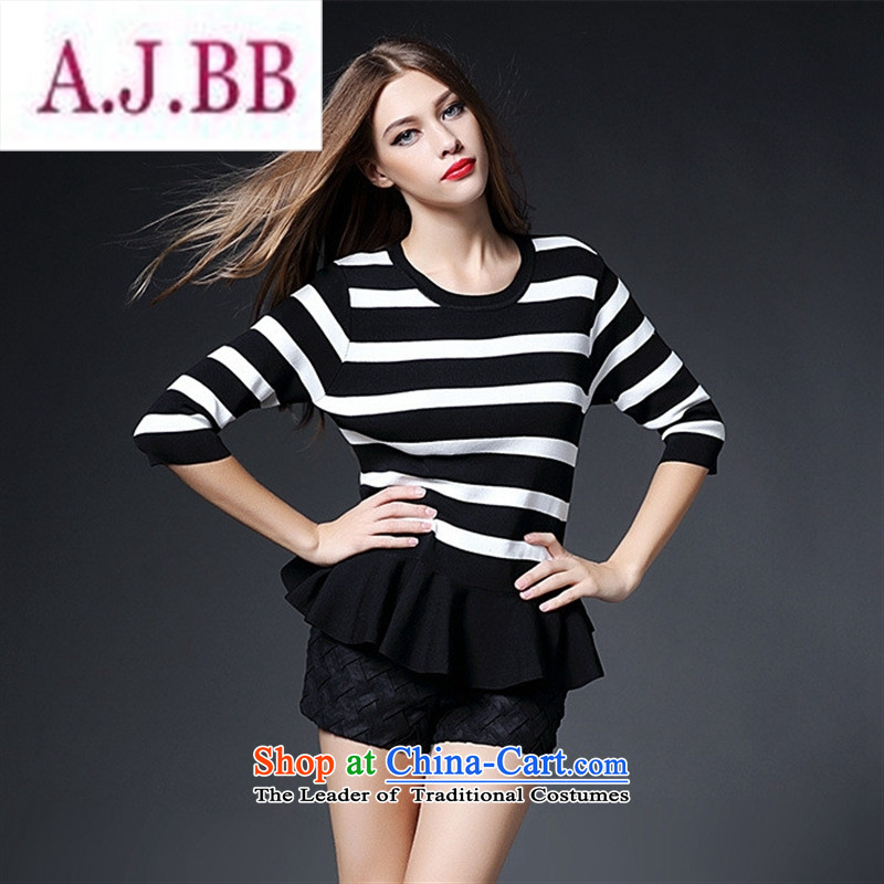 Ms Rebecca Pun stylish shops 2015 new women's Western Wind autumn knitting striped tee shirt-sleeves, forming the basis of seven long-sleeved LF20150988 PINSTRIPE?S