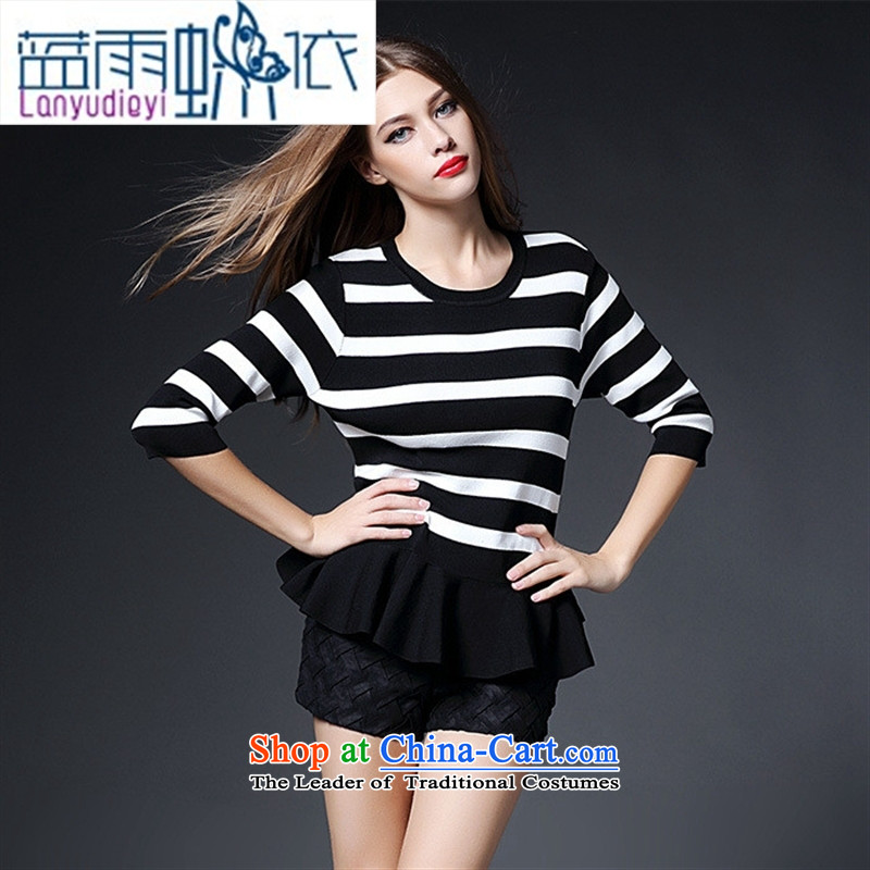 Ya-ting shop 2015 new women's Western Wind autumn knitting striped tee shirt-sleeves, forming the basis of seven long-sleeved LF20150988 PINSTRIPE?M