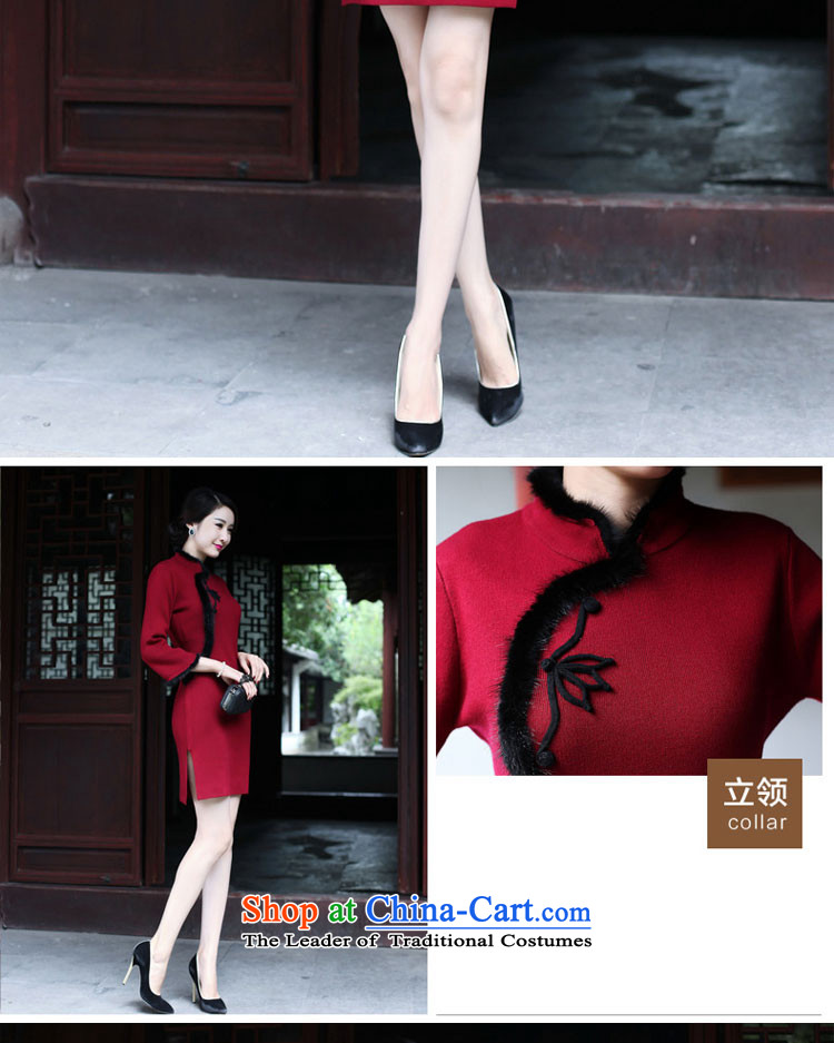 The new 2015 Fall/Winter Collections cheongsam dress short Ms. Stylish retro long-sleeved woolen knitted Sau San improved wine red 2XL Photo, prices, brand platters! The elections are supplied in the national character of distribution, so action, buy now enjoy more preferential! As soon as possible.
