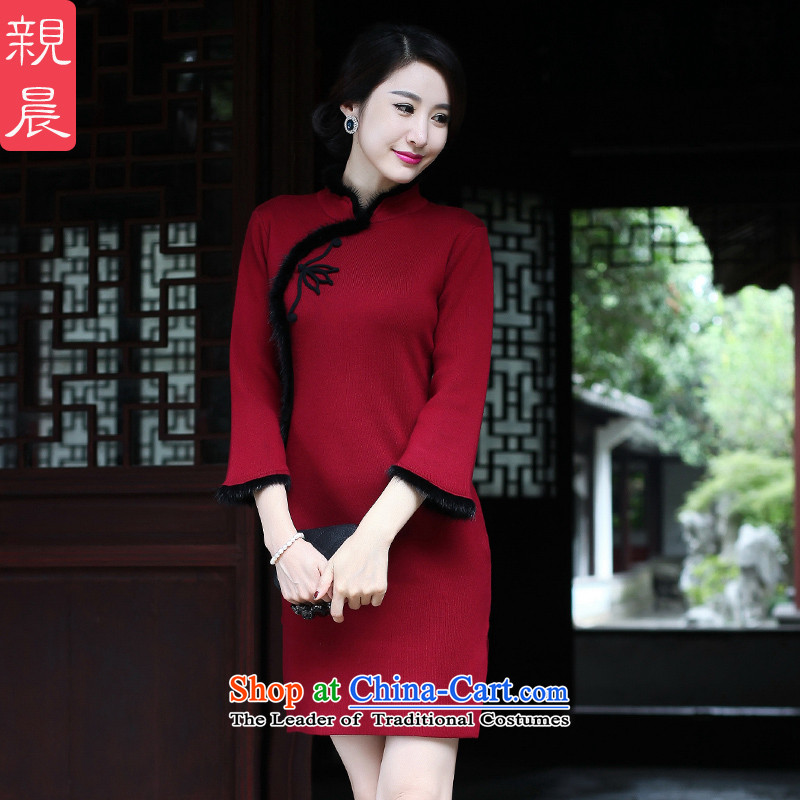 The new 2015 Fall/Winter Collections cheongsam dress short Ms. Stylish retro long-sleeved woolen knitted Sau San improved wine red?2XL