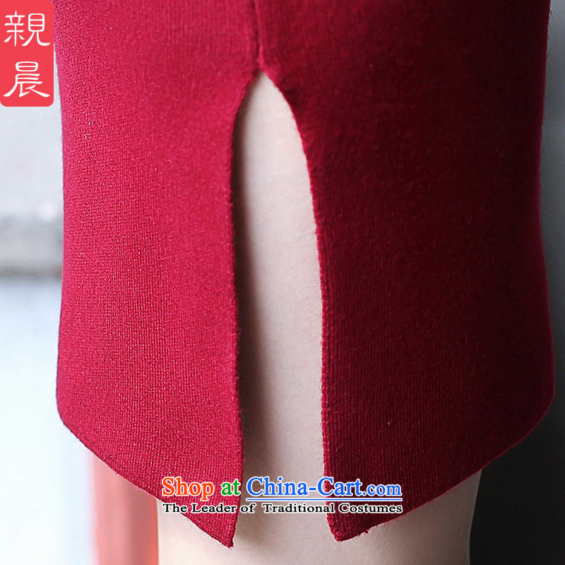 The new 2015 Fall/Winter Collections cheongsam dress short Ms. Stylish retro long-sleeved woolen knitted Sau San improved wine red 2XL, pro-am , , , shopping on the Internet
