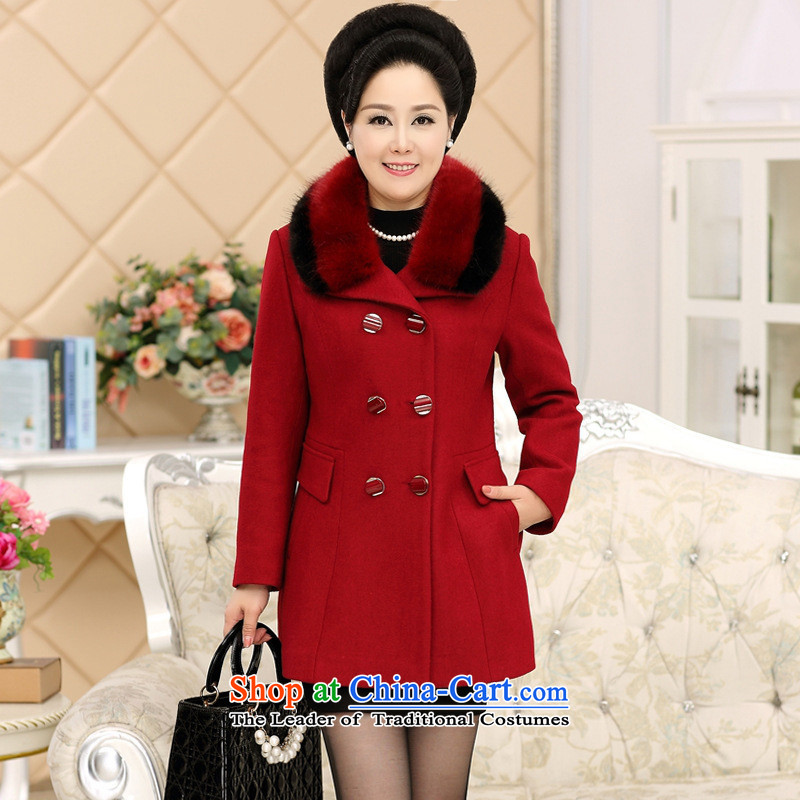 The Secretary for Health concerns of older _ Large shop code thick a fall and winter jackets MOM pack cashmere overcoat so gross middle-aged female woolen coat Red聽2XL