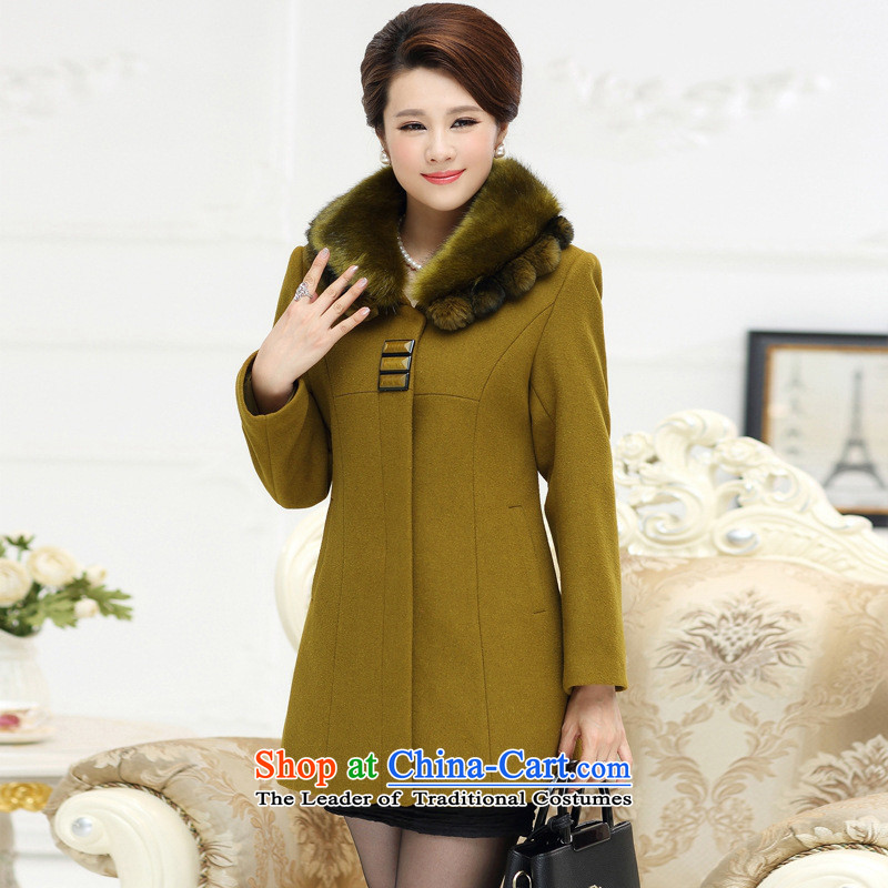 Secretary for new shop involved _ Mother woolen coats women in so long in the autumn and winter older woolen coat for a light brown Nagymaros�L