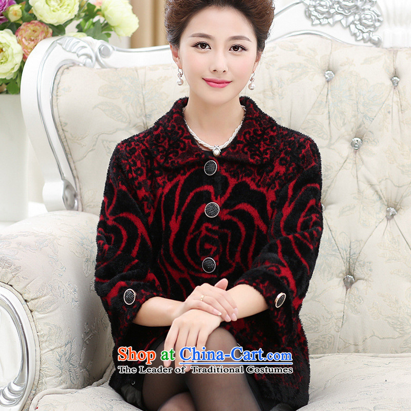 The Secretary for Health concerns of older * shop autumn and winter jackets female larger mother boxed sweater cardigan old lady with thick knitwear woolen sweater leather red M